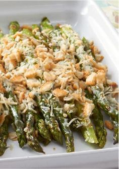 Easy Creamy Baked Asparagus – Add instant elegance to your party with this better-for-you platter of fresh asparagus spears in a delicious cheese sauce and crumb topping.