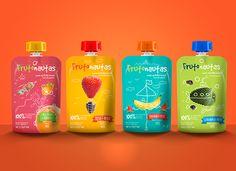 Frutonautas on Behance Kids Packaging, Simple Packaging, Pouch Packaging, Juice Packaging, Candy Packaging, Food Packaging Design, Bottle Packaging, Packaging Design Inspiration, Branding Ideas