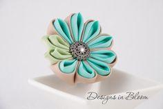Flower Brooch Blue Beige and Green Kanzashi by DesignsInBlooms, $15.00
