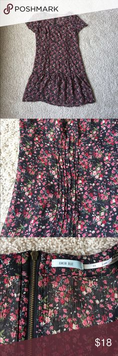 Kimchi Blue Black Floral Mini-dress/Tunic Sheer but not extremely see through because of the pattern. Could be worn with a slip or cami and leggings. Beautiful detailing - gathering at front, darts on back, drop waist, exposed zipper. XS but could fit a small. Kimchi Blue for Urban Outfitters. EUC.                                                                                  💖 bundle & save 🌀 offers welcome 📦 fast shipping Urban Outfitters Dresses