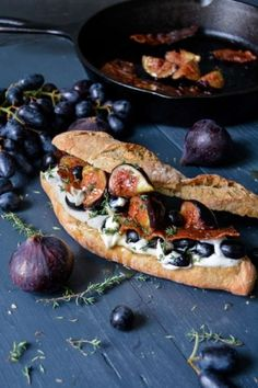 fig recipes: Whipped Chèvre, Grape and Fig Baguette with Bacon, Honey and Thyme Fig Recipes, Brunch Recipes, Easy Dinner Recipes, Easy Meals, Sandwiches, Baguette Sandwich, Bacon Sandwich, Food Design, Love Food