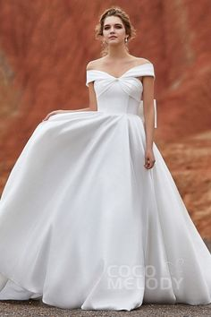 Cocomelody Wedding Dresses A Line Ld5801 Silk Satin Designer Bridal Gowns