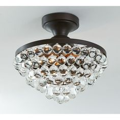 Pottery Barn Callia Crystal Drop Semi-Flushmount Ceiling Fixture ($244) ❤ liked on Polyvore featuring home, lighting, ceiling lights, flush mount ceiling lights, flush mount ceiling lamp, pottery barn hanging lights, pottery barn ceiling lights and flushmount ceiling lights