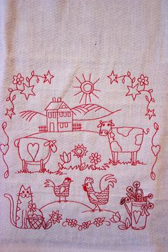Tea Towels with Country Scene Embroidery by CraftyCajunCreations