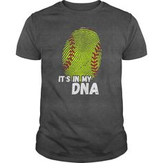 IT'S IN MY DNA => ITS IN MY DNA oz., pre-shrunk cotton Dark Heather is cotton/polyester Sport Grey is cotton/polyester Double-needle stitched neckline, bottom hem and sleeves Quarter-turned Seven-eighths inch seamless collar Shoulder-to-shoulder taping Softball Room, Softball Quotes, Softball Shirts, Girls Softball, Softball Players, Fastpitch Softball, Baseball Mom, Softball Shirt Ideas, Softball Stuff
