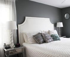 DIY Upholstered Headboard - Love her tutorial.. Especially since the room color and everything matches what I want.. :)