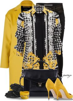 Winter Outfits Versace Long Sleeve Gingham Blouse