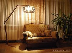 Exclusive floor lamp all made from wood. Modern by MadeInWoodLv