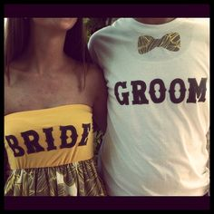 I'm so buying these ! How stinking cute ! Custom Bride & Groom Rehersal Outfits by thearmorofGod on Etsy
