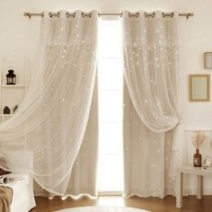 The beautiful blackout thermal window panel set is a versatile curtain choice curtains Stars Blackout Beige Curtain Panel Cute Curtains, Beige Curtains, Luxury Curtains, Beautiful Curtains, Drapes Curtains, Bedroom Curtains Blackout, Modern Curtains, Lights In Curtains, Gypsy Curtains