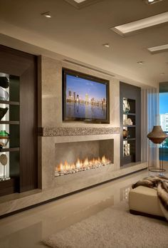 New living room tv wall modern design fireplaces Ideas Bedroom Fireplace, Home Fireplace, Living Room With Fireplace, Fireplace Design, Bedroom Tv, 3 Sided Fireplace, Wall Units With Fireplace, Granite Fireplace, Modern Fireplaces