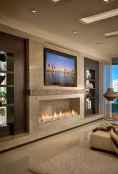 New living room tv wall modern design fireplaces Ideas Elegant Home Decor, Luxury Living Room, Home Living Room, Room Design, Home Fireplace, Fireplace Design, Modern Fireplace, Living Room Design Modern, Living Room Tv Wall