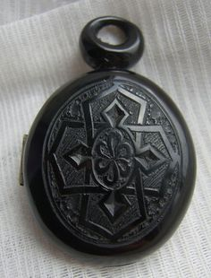 Antique Victorian Carved WHITBY JET Double MOURNING Locket Cross & Hair Inside