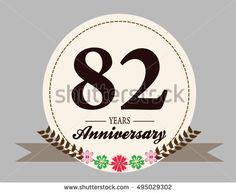 82 years anniversary logo with oval shape, flower, and ribbon. anniversary for birthday, wedding, celebration, and party