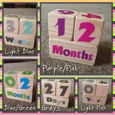 Baby Age Blocks by CRCustomDesignSigns on Etsy https://www.etsy.com/listing/220294961/baby-age-blocks