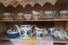 Paragon 'Lilac' 4 cups & saucers 4 tea plates, sugar bowl & milk/cream jug circa. 1913. £35 Johnsons Bros 'Snowite Valetta' '70's Perfect condition. 6 cups & saucers, tea/coffee pot, milk/cream jug & sugar bowl. £45