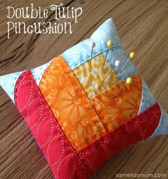 Hand Quilted Double Tulip Pincushion - Foundation Piecing Tutorial