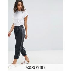 ASOS PETITE Leather Look Tapered Pant with Elasticated Back ($56) ❤ liked on Polyvore featuring pants, black, elastic waist pants, fake leather pants, asos pants, short trousers and petite pants