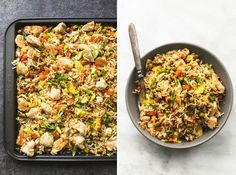 Sheet Pan Chicken Fried Rice | lecremedelacrumb.com