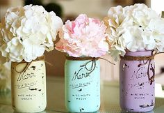 What You Need:  3 mason jars Flowers Chalk paint (ultra-matte) Paint brush/waxing brush Finishing wax/acrylic sealer Twine Paper towels Rubbing alcohol Sanding block (120-150 grit)  Here's How:  Step 1 Clean the entire outside surface of the mason jars using paper