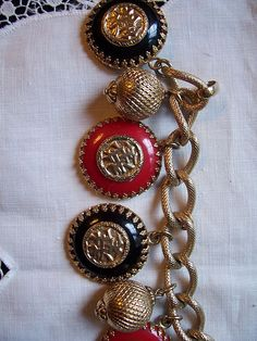 Vintage Napier Asian Charm Bracelet and Matching Brooch