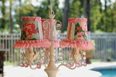 Custom Made Cottage Chic Pink And Turquoise Rose And Ruffle Petite Chandelier
