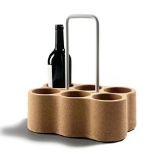 Amorim Cork AC Materia Six Bottle Carrier - Trouva Unique Wine Racks, Wine Rack Design, Bottle Rack, Bottle Sizes, Bottle Carrier, E Design, Industrial Design, Wines, Crates