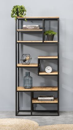 Estantería estilo industrial – Home Office Design Diy Steel Furniture, Home Decor Furniture, Furniture Design, Loft Furniture, Apartment Furniture, Bookcase, Sweet Home, New Homes, Room Decor