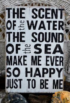 Beach Decor, Beach Art, Wall Art, Word Art, Beach House Handpainted Wood Sign. $35.00, via Etsy.