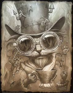 Steampunk Cat // 8 X 10 PRINT // Madhatter Cat by JeffHaynieArt