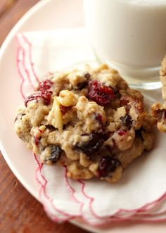 Oatmeal Cookies.  Gonna try these today with dark chocolate chips, pecans, and raspberries. Yum!