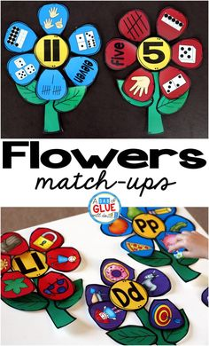 Flowers Initial Sound and Number Match-Ups Preschool Learning, Fun Learning, Preschool Kindergarten, Preschool Printables, Literacy Stations, Literacy Centers, Writing Centers, Alphabet Activities, Classroom Activities
