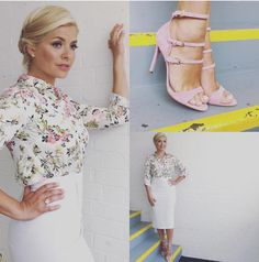 Holly Willoughby flashes pants as she suffers wardrobe malfunction in tight white skirt on This Morning Office Fashion, Business Fashion, Work Fashion, Fashion Beauty, Fashion Outfits, Business Lady, Women's Fashion, Spring Fashion, Holly Willoughby Outfits