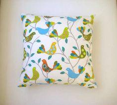 Spring Home Decor  Bird Print Pillow Cover  Linen by MyDreamHome, $18.00