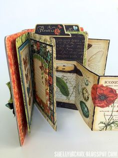 Stamptramp - Graphic 45 Nature Sketchbook mini book created with Eileen Hill dies from Sizzix