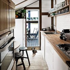 Wood kitchen benches