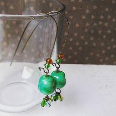 Emerald green #bijoux #bouclesdoreille #earrings #jewelry #faitmain #doityouself #handmade #diy #surlefilcreation #perle #perleaddict
