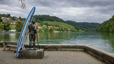 SUP statue in Eglisau on the river Rhine Four Square, Switzerland, River, Statue, Park, Rivers, Parks, Sculptures, Sculpture