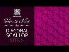 How to Knit the Diagonal Scallop Stitch, uses pulling a stitch over technique
