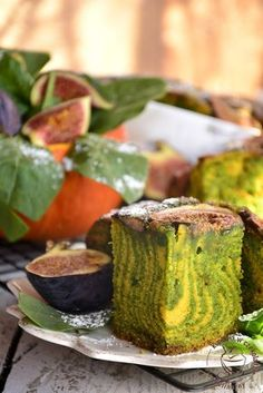 Ciasto dyniowo- szpinakowe, z figami, jesienny placek, dynia, zebra, do kawy, ucierane