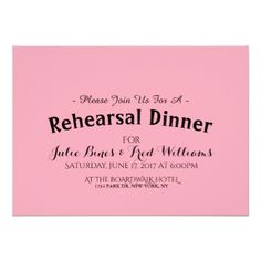 #pink Very simple Chic Typography Rehearsal Dinner Card - #saturday #saturdays