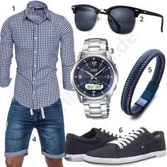 Casual summer outfit for men with plaid Amaci & Sons shirt, Sublevel jeans shorts, blue Halukakah bracelet, dark blue Tommy Hilfiger sneakers, sunglasses and Casio wireless solar clock. Summer Outfits Men, Stylish Mens Outfits, Casual Outfits, Men Casual, Mode Man, Herren Outfit, Mens Clothing Styles, Menswear, Mens Fashion