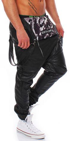 b7f216ec190b Sixth June Herren Latzhose Kunst Leder Hose Biker Dungarees Jeans leather  pant… Latzhose Männer,
