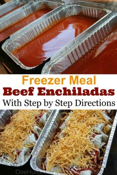 Easy Beef Enchiladas With all my Zaycon chicken to use up, I was finding myself in a chicken rut. I needed some red meat in my life! These beef enchiladas were the perfect solution. I make them almost the exact same way I make my chicken enchiladas, which Make Ahead Freezer Meals, Freezer Cooking, Freezable Meals, Meals To Freeze, Individual Freezer Meals, Freezer Lasagna, Single Serve Meals, Freezer Dinner, Make Ahead Casseroles