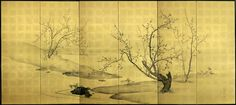 A pair of six-fold paper screens painted in ink and colour on a gold ground with ume (plum) and take (bamboo) in a rocky river landscape. (L) Kansai Mori Kōshuku (19th century Meiji period)