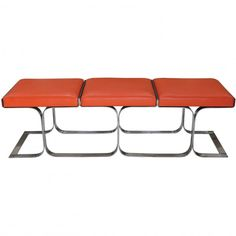 Orange Airline Bench available in brown and aqua as well. these are super cool benches. http://shopdesigntap.com/product/orange-airline-bench/