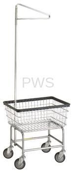 $139 R&B #100E91 Rolling Standard Laundry Cart/Chrome Basket w/Sngl Pole Rack on Wheels
