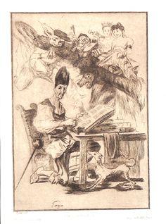 Don Quichotte d'après Goya : il est assis dans son cabinet, lisant et assiégé de visions fantastiques. (Béraldi 286 2ème état sur 2). Gravure d'interprétation de Félix Bracquemond (1833-1914) d'après Goya. MAS Estampes Anciennes - Antique Prints since 1898