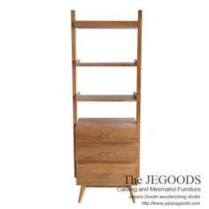Model mebel rak buku retro teak rack bookshelf vintage scandinavia. Jegoods Studio, indoor teak retro furniture woodworking manufacturer exporter Indonesia.