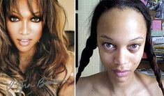Tyra Banks without makeup and photoshop! More pics like these at: http://www.wanderingtummie.com/category/stars-without-makeup/